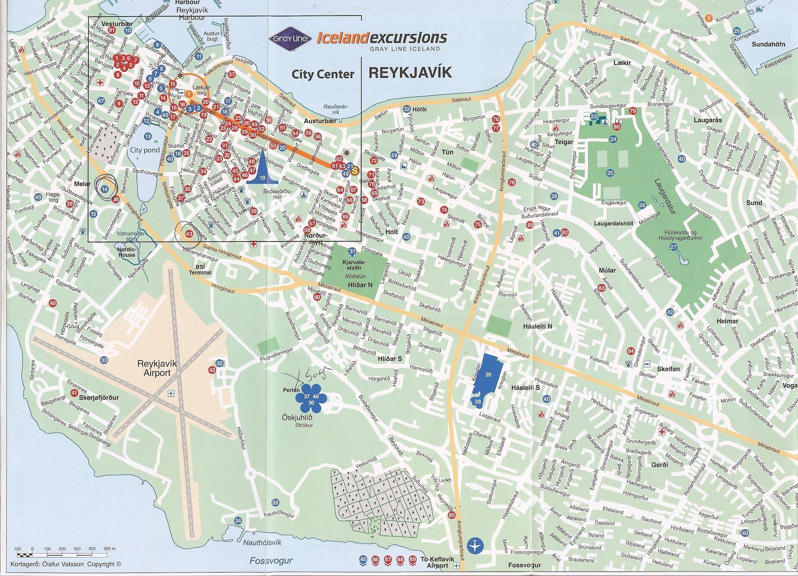 reykjavik city centre map pdf