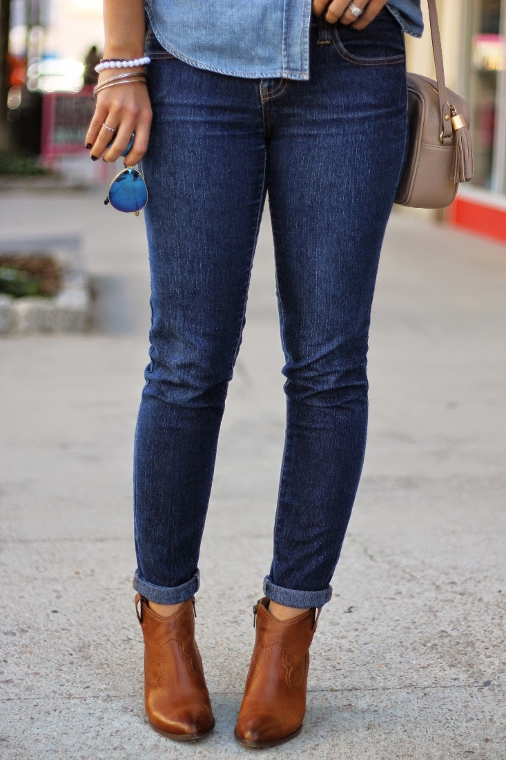 Rolled up skinny jeans with ankle boots