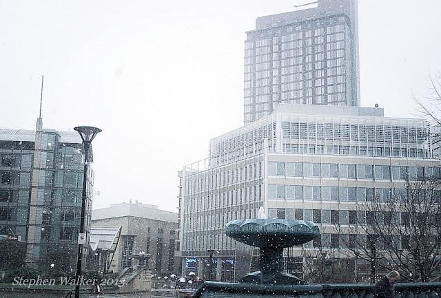 Peace Gardens and St Pauls Tower, Sheffield, in the snow