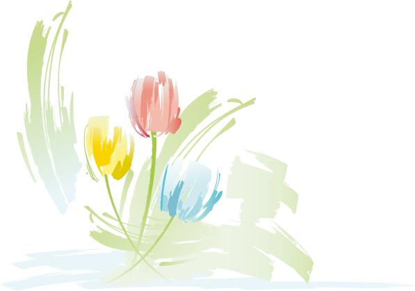 Pintura floral zen - Vector