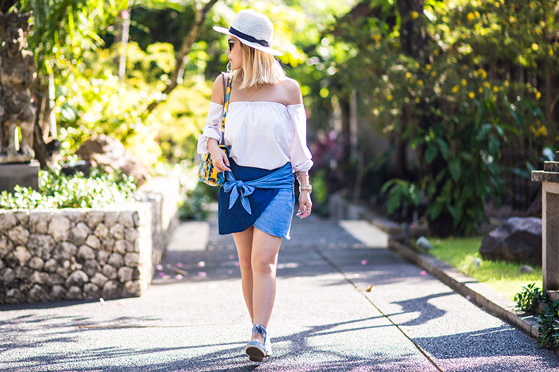 Crystal Phuong- suede espadrilles sandals, tie front denim skirt and off shoulder blouse