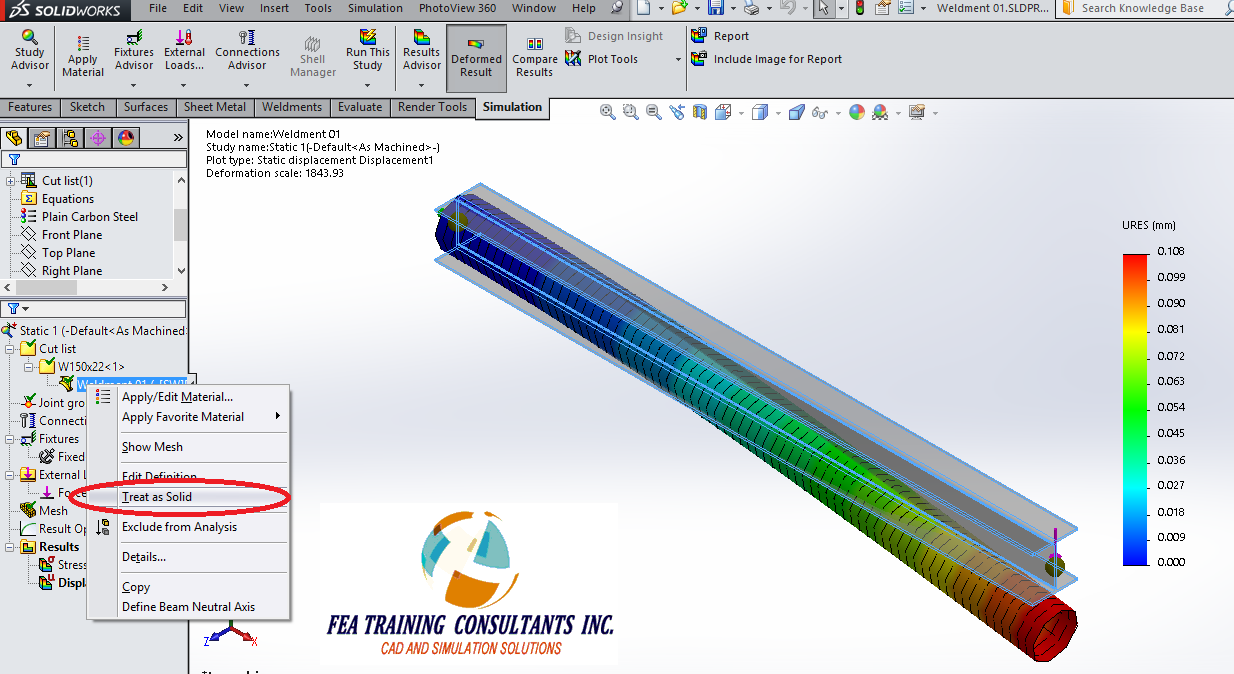 solidworks simulation weldments