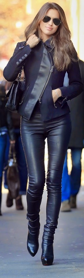 The beauty of Irina Shayk in tight skinny black jeans and jacket