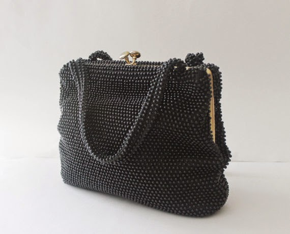 40s black beaded purse bag