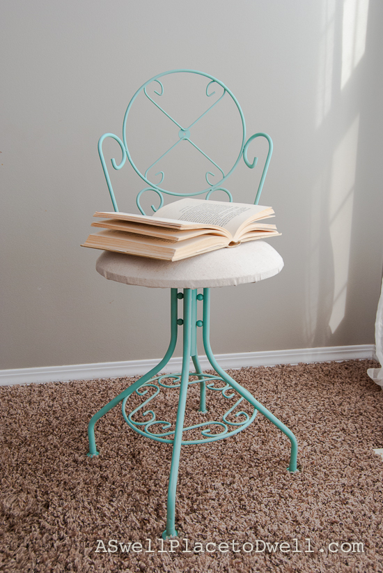 Refinished Vanity Chair using Liquitex Spray Paint
