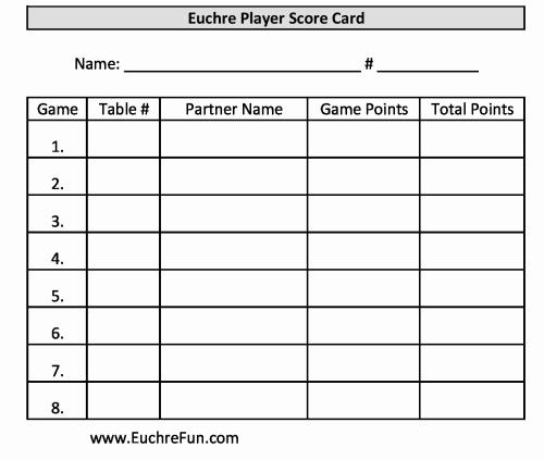 Great Euchre Scoring Sheets