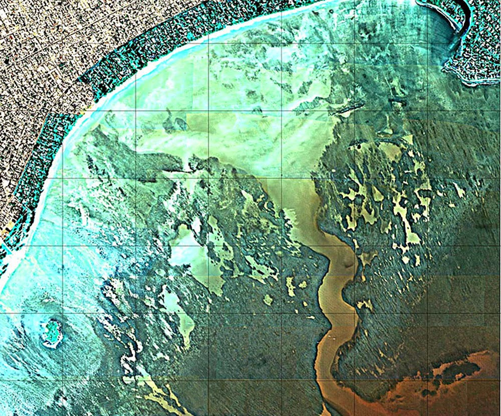 this uh soest image shows how fresh water erodes channels and pits caves and sinkholes into the coral reef creating what the ewa plain looked like many