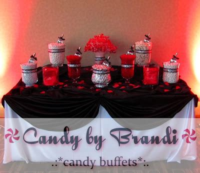 Candy by Brandi black white and red candy buffet for a wedding