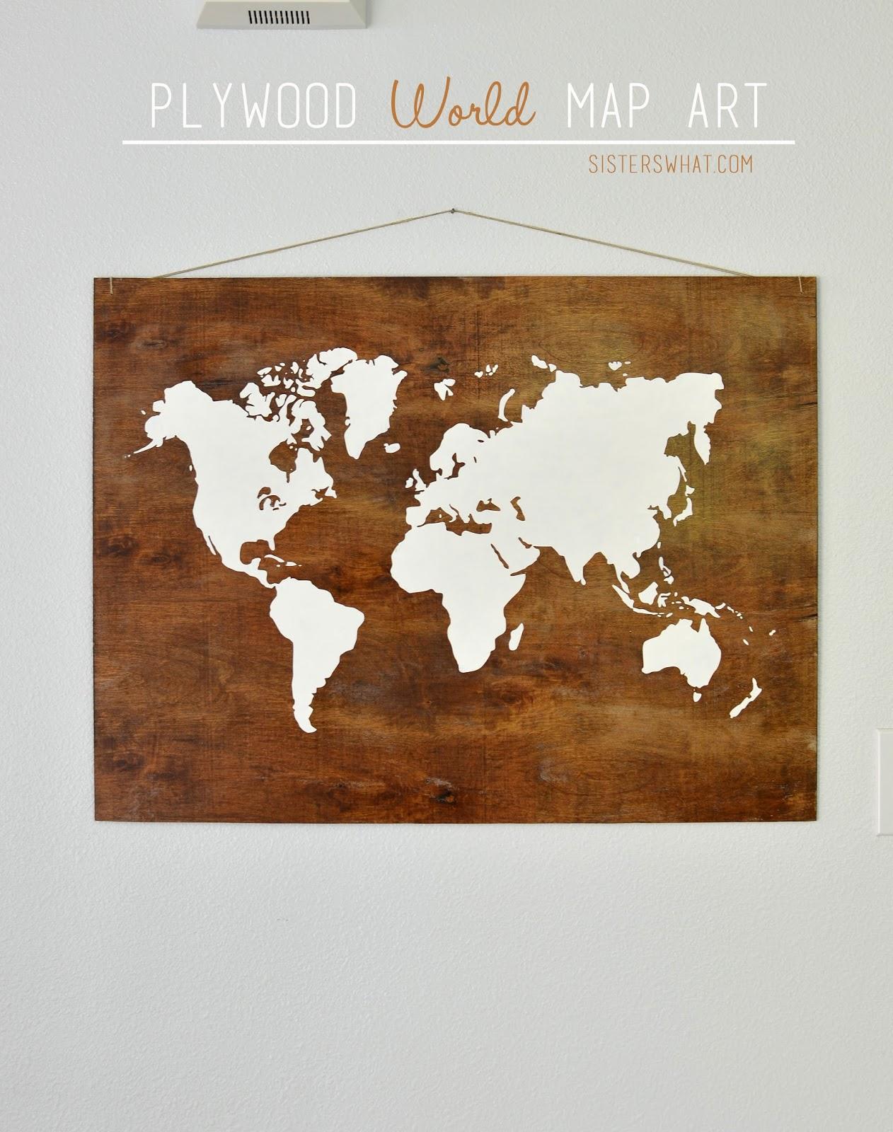 Plywood World Map Art