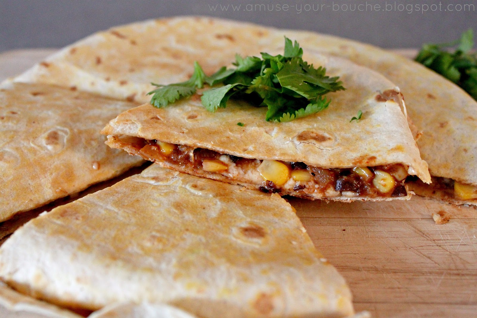 Spicy black bean and corn quesadillas - Amuse Your Bouche
