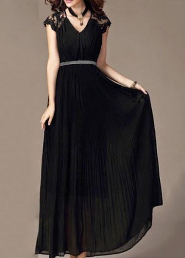 Vestido de Seda Cuello V sin Mangas con Aplicaciones en los Hombros