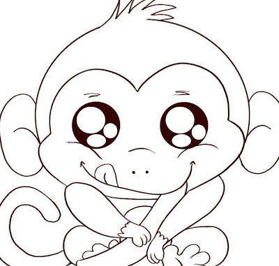 Animal Monkey And Baby Monkey Coloring Pages Kids