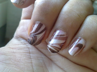 brown and white water marbling