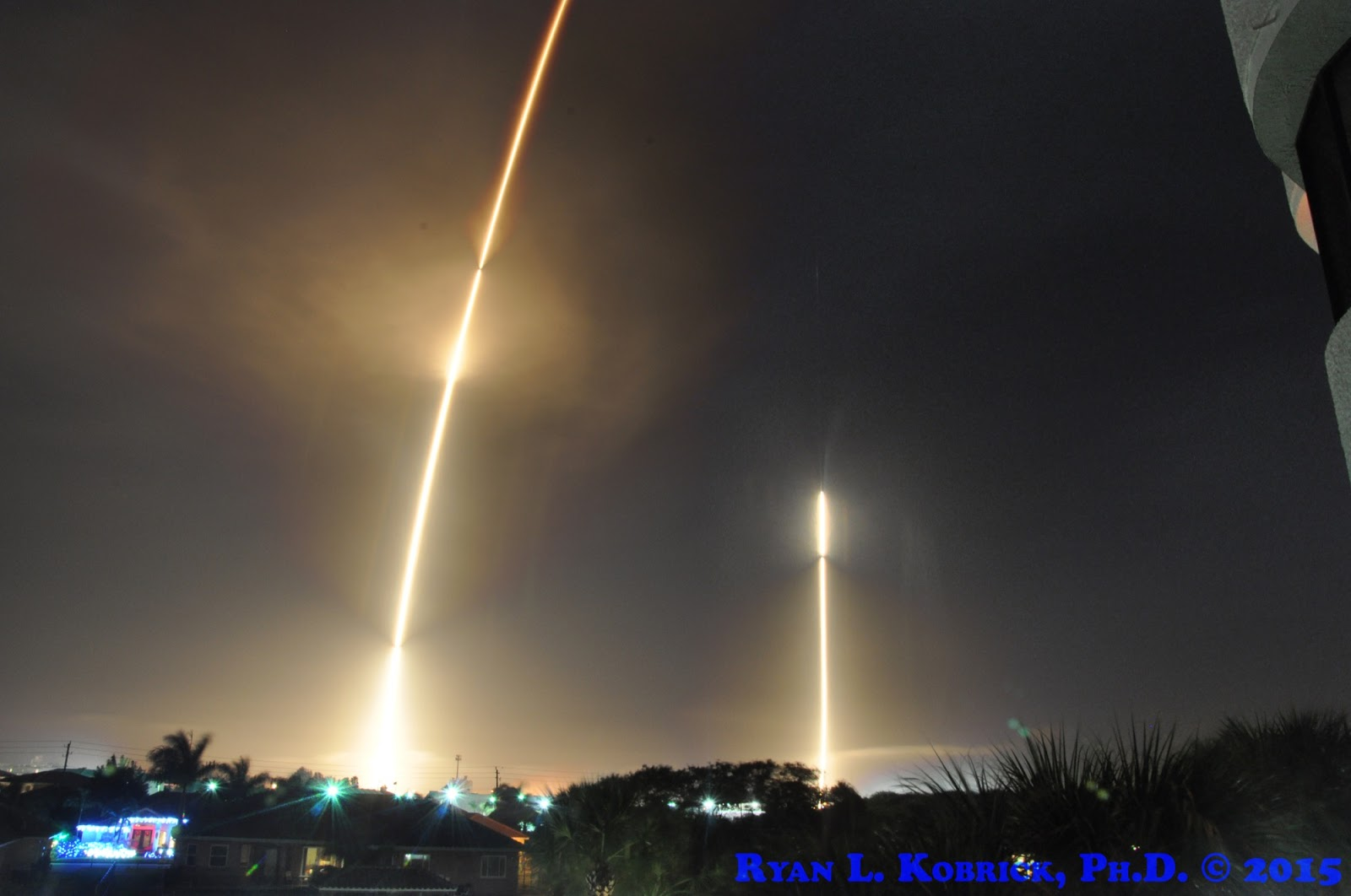the falcon 9 rocket streaks to space on the left and 8 10 minutes later on the right it s first stage returns to earth for a safe landing