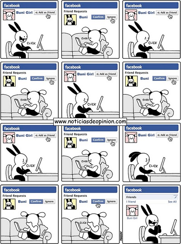 Viñeta de humor: el que la sigue, la consigue (Buni usando Facebook)
