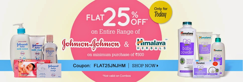 FirstCry offer: Flat 25% OFF on Johnson & Johnson & Himalaya Herbals Range on Min. purchase Rs 500