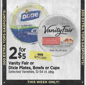 Coupons for paper plates and cups