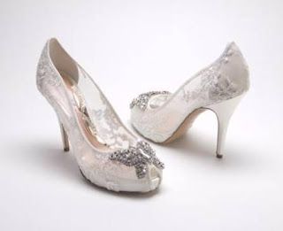 Aruna Seth lace and crystal peep toe bridal shoes