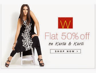 "Buy Ethnic Clothing at Flat 50% off on ""W"" ladies kurta and Kurti at fashionara"