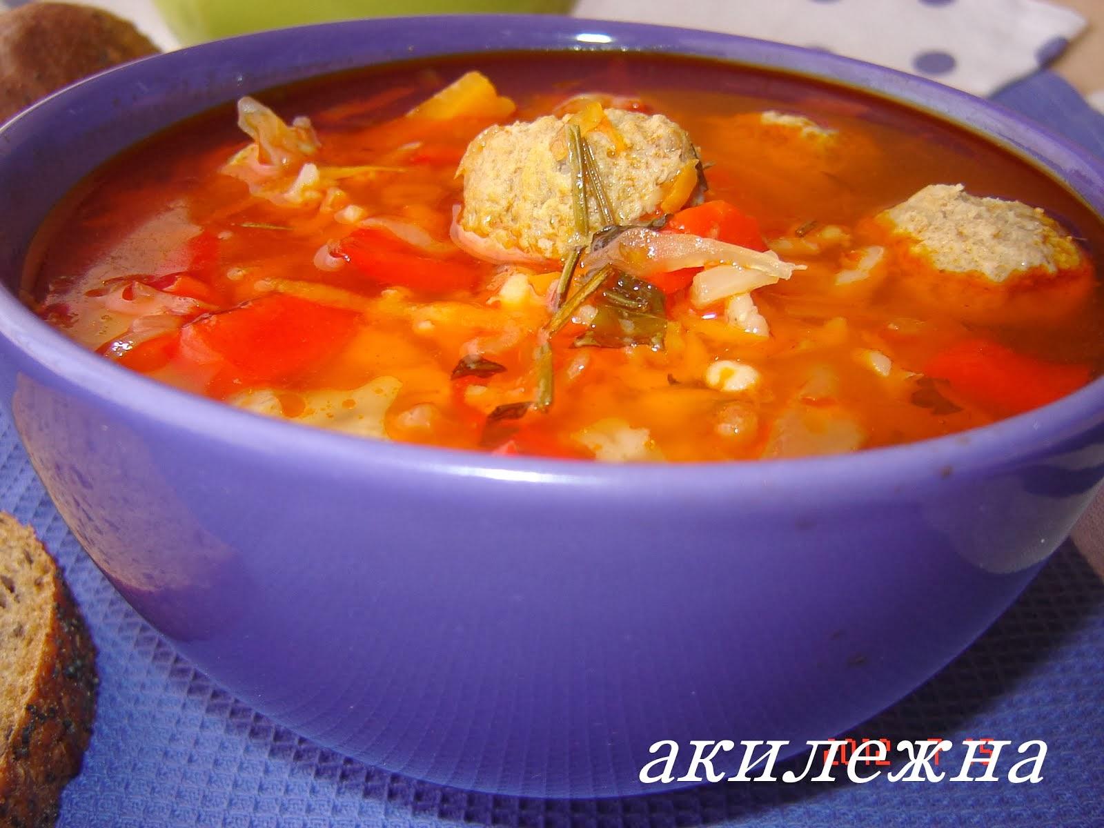 Суп с фрикадельками,перловой крупой и квашеной капустой.