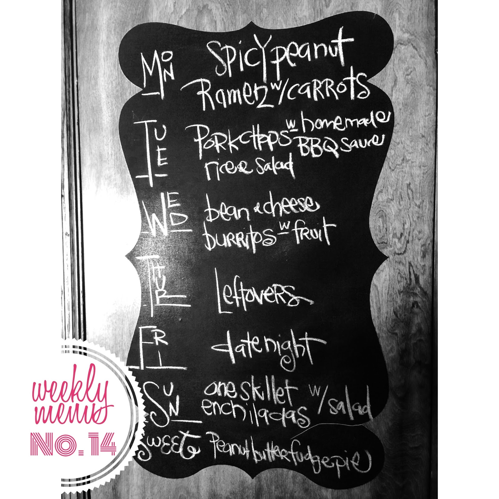 Weekly menu, recipes included. The Graffitied Gardenia