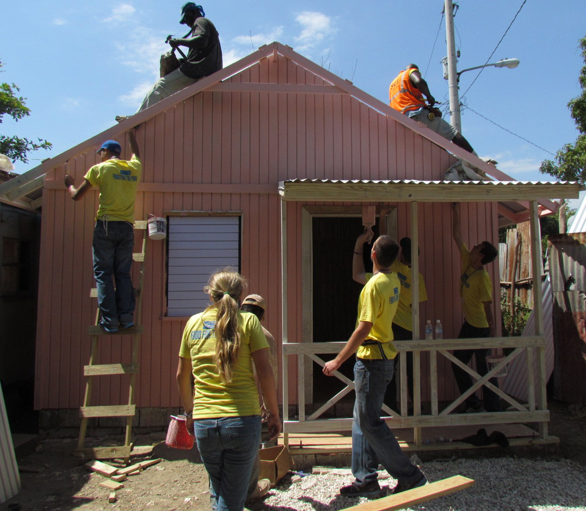 Food for the poor jamaica overseas students partner with for Building a house in jamaica