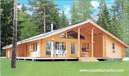 Arquitectura de casas casa de madera de 205 m2 y otros - Casas de madera de troncos ...