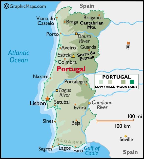 terreno en el mapa de portugal