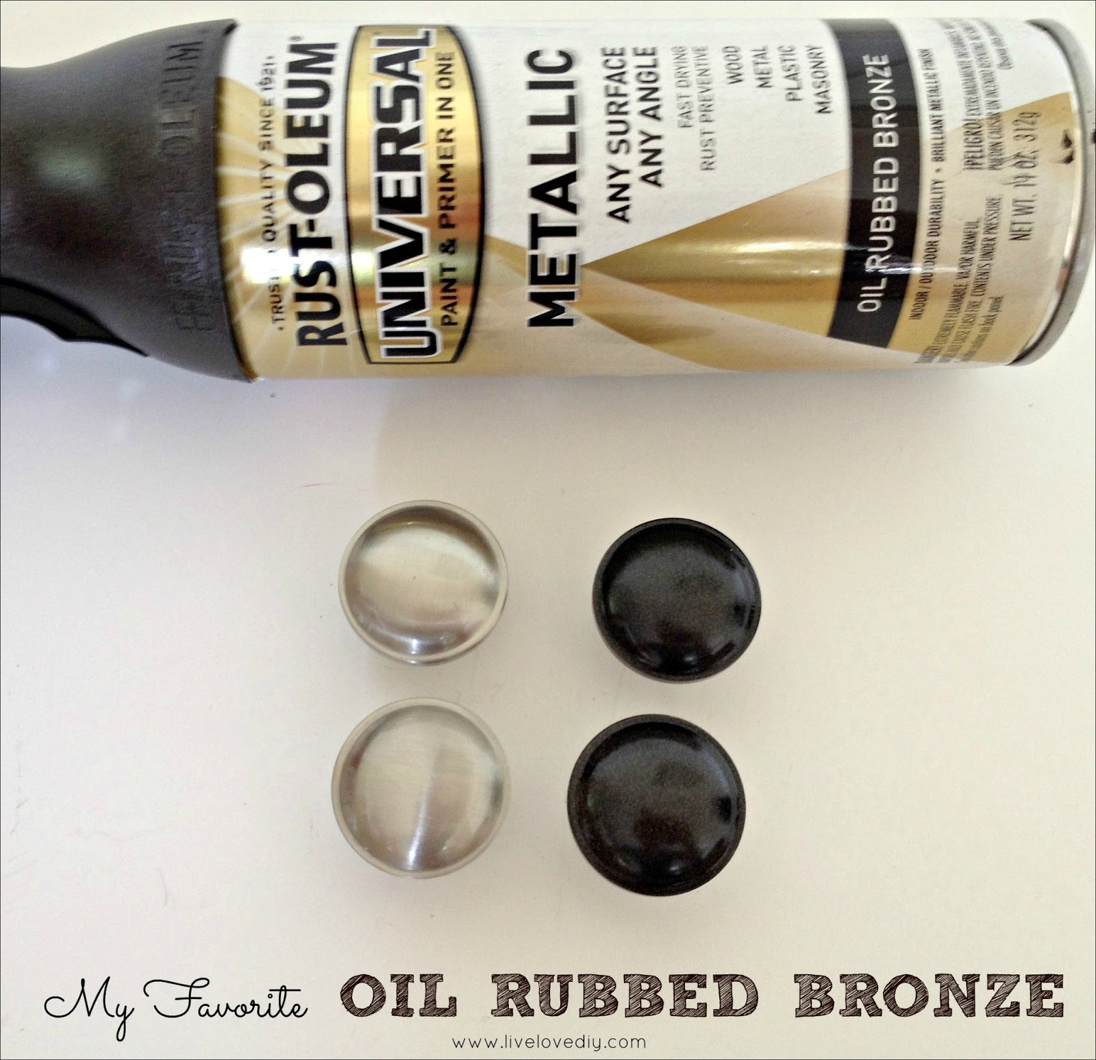 livelovediy how to update old brass doorknobs with spray paint. Black Bedroom Furniture Sets. Home Design Ideas