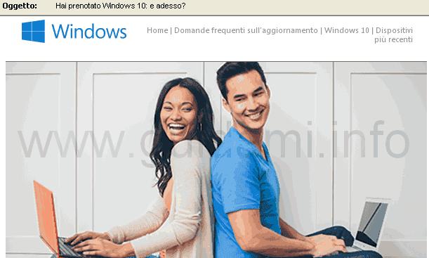 Email Microsoft Hai prenotato Windows 10 e adesso