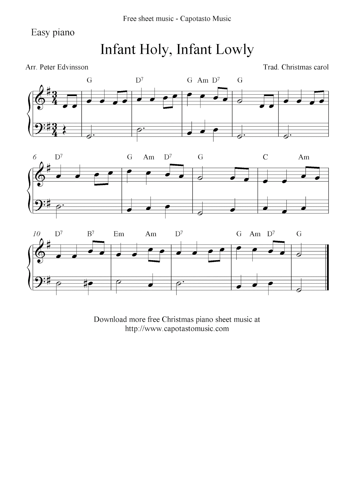 Free Christmas piano sheet music notes, Infant Holy, Infant Lowly