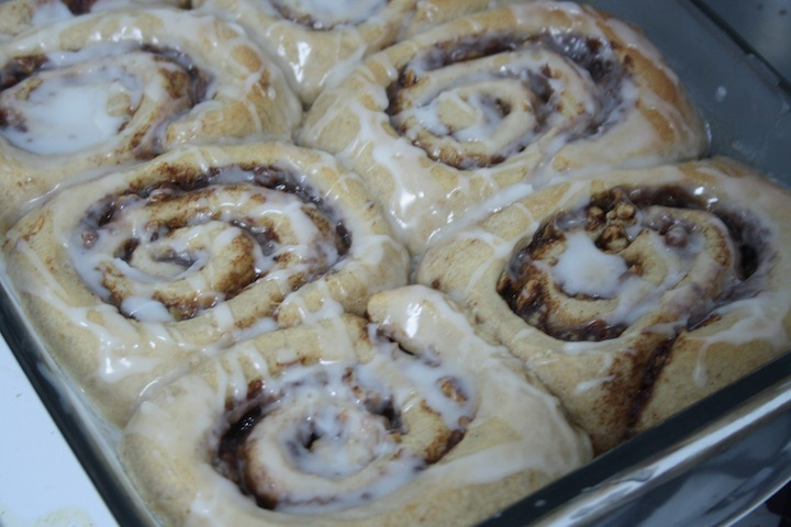 Apple Pie Cinnamon Rolls with Sweet Almond Glaze