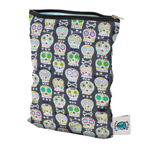 Planet Wise Wet Bag: Size Small in Carnival Skulls