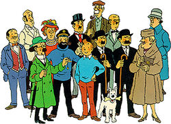 The entire cast of Tintin's adventures