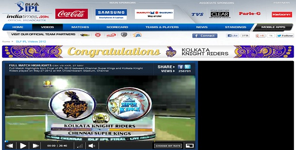 IPL Stream on IndiaTimes 2013