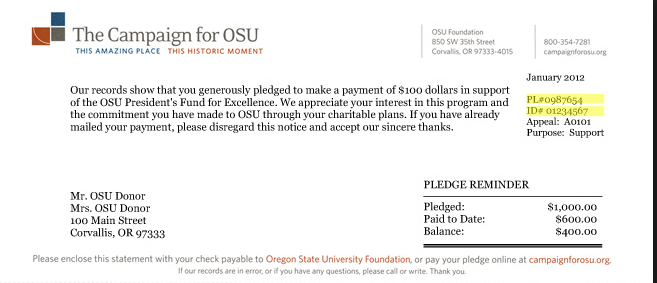 pledge reminder letter sample