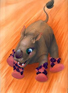 Celtic Emu and baby rhino acrylic paintings
