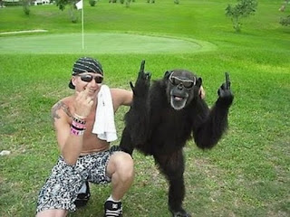 Narcissistic Behavior of monkey with man