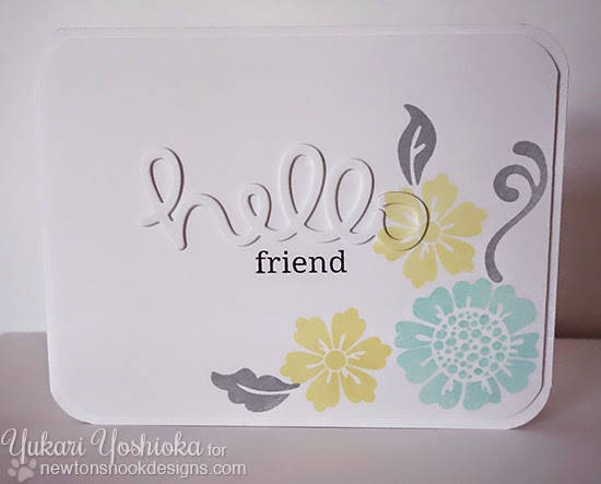 Hello Friend flower card by Yukari Yoshioka | Fanciful Florals Bold Flower Stamp set by Newton's Nook Designs