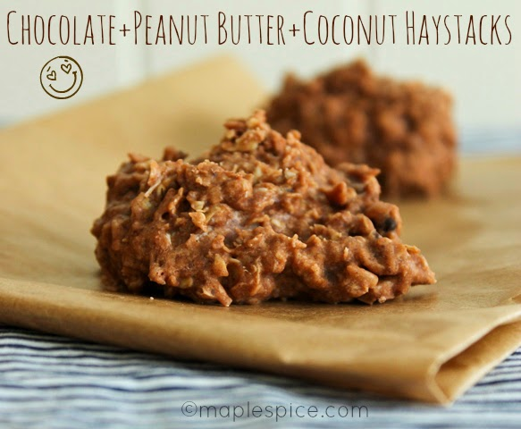 Vegan Chocolate + Peanut Butter + Coconut Haystacks - a no-bake cookie