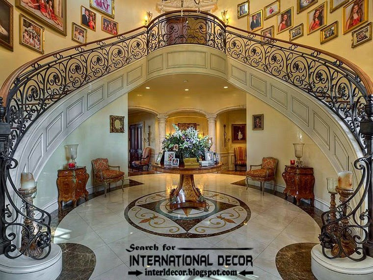 Mediterranean Palace in Florida, American palace Colonial style, royal interior stairs