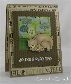 Bear card by Elena J. using Wild Child Stamp Set  | Newton's Nook Designs