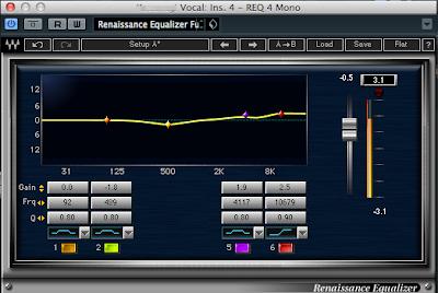 Waves REQ 4の設定例 基本に忠実といった感じです。500Hzにこもりを感じたので少しカットしました