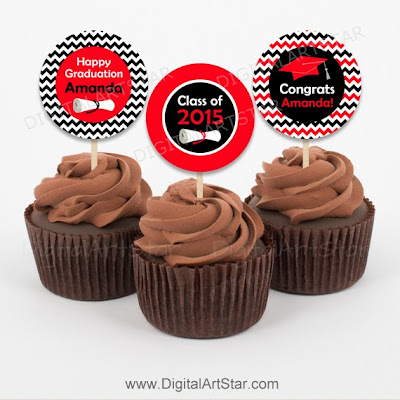 Printable red and black chevron graduation cupcake toppers