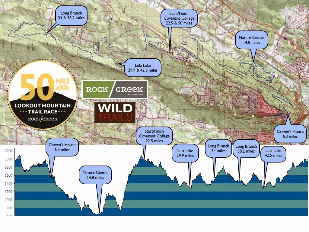 lookout mountain 50 mile trail race course map courtesy of rock creek