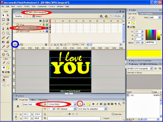 Cara membuat Teks You pada Macromedia Flash untuk DP BBM Cinta