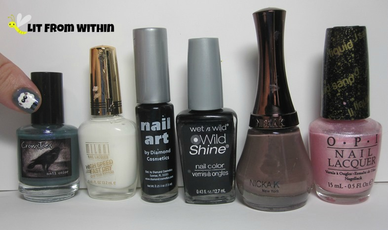 Bottle shot:  CrowsToes Me and This Army, Milani White On The Spot, black striper, Wet 'n Wild Black Creme, Nikka K NY112, and OPI Pussy Galore.