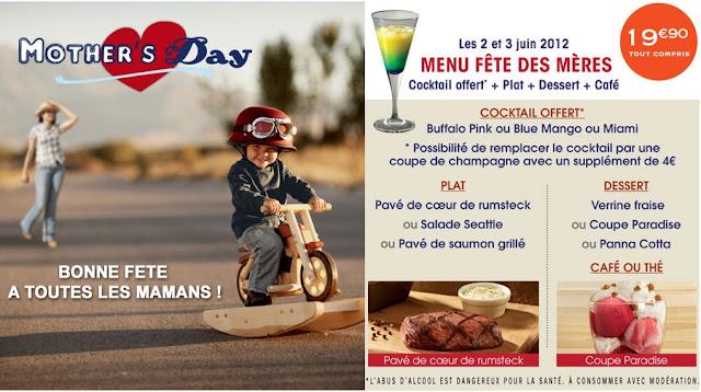 1 cocktail offert pour chaque menu Fête des mères le 2 et 3 mai 2012 à Buffalo Grill