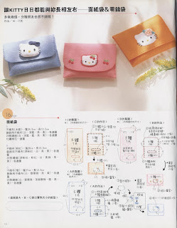 Moldes para feltro carteira da Hello Kitty