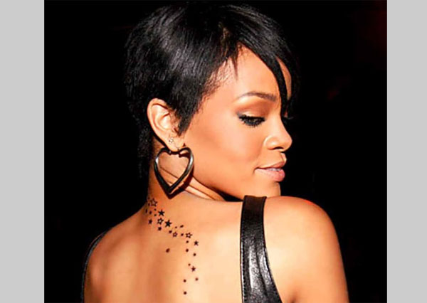 Rihanna A Trail of Stars Back Tattoo